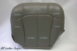 2001 2002 Chevy Truck Driver Bottom Replacement Leather Seat Cover Pewter Gray