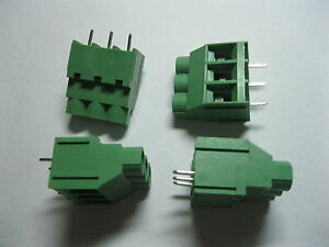 60 Pcs Screw Terminal Block Connector 3 Pin 6 35mm Green Wire Cage Type Dc635