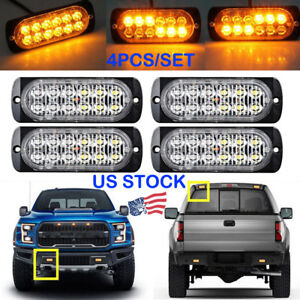 4pcs Amber 12 Led Strobe Light Bar Truck Beacon Flash Warning Emergency Lamps Us