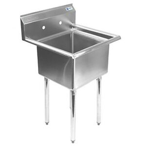 Stainless Steel Commercial Kitchen Prep Laundry Room Utility Sink 24