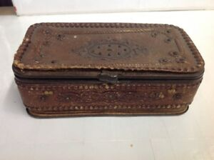 Antique Victorian Leather Hand Tooled Embossed Vanity Dressing Jewelry Box