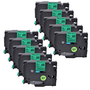 10pk Tz741 Tze741 Black On Green 18mm Label Tape For Brother P touch Pt 11q 3 4