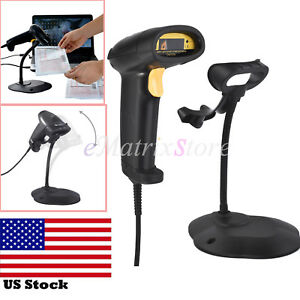 Handheld Laser Bar Code Scanner Usb Barcode Pos Reader Scan With Free Stand Us