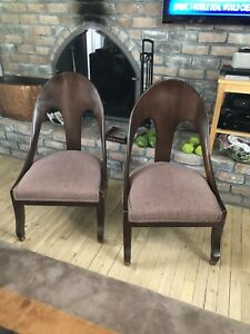 Antique Chairs Solid Oak With Plum Tan Upholstery
