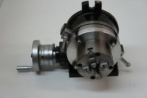 5 Rotary Table With 80 Mm 4 Jaw Chuck Adapter And Clamp Set