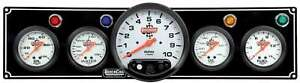 Quickcar Racing Products White Face Gauge Panel Assembly P n 61 6751