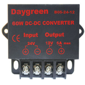 24v Dc Step Down 12v Dc Converter 5a Voltage Regulator Audio Gps Car Recorder