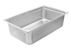 Winco Spjh 106pf perforated Steam Pan Full size 6 inch 22 Gauge Stainless Stee