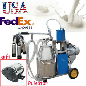 Electric Milker Milking Machine Farm Cow 25l Bucket Piston Pneumatic Pulsator