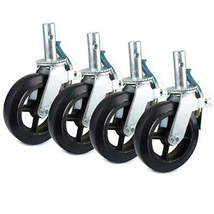 Set Of 4 Scaffold 8 x2 Black Rubber Mold on Steel Caster Wheel With Brake