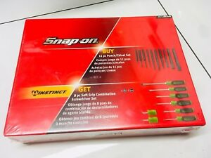 Snap On 11pc Punch chisel 8pc Soft Grip Screwdriver Set Ppc710bksgdg Spoox