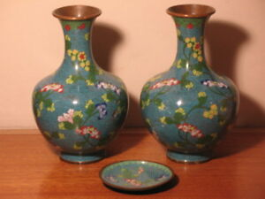 Pair Of Chinese Cloisonne Vases Small Matching Plate Marked China