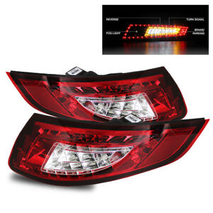For 05 08 Porsche 997 991 Carrera Gt2 Gt3 Red Clear Led Tail Lights Lamps Set