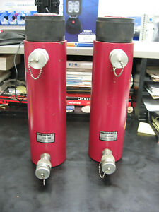 Pair Of Enerpac Jds 308 30 Ton Industrial Hydraulic Cylinders Double Acting