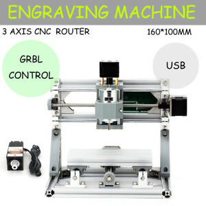 1610 Cnc Mini Mill Engraving Machine Cnc Router Kit Usb 500mw Laser Pcb Wood Diy