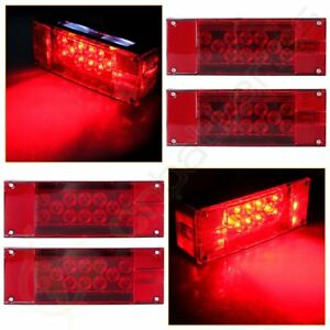 4xrectangle Red white Led Stud Stop Turn Tail Light Multi function Trailer Truck