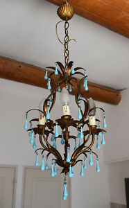 Antique Chandelier Blue Opaline Drops 1920 Beads 4 Lights Gouttes Rare Lustre