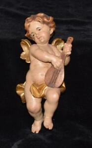 Vintage Hand Carved Gilded Wooden Wall Angel Cherub Putti W Lute 6 H