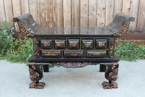 Antique Chinese Asian Sideboard Buffet Cabinet Handpainted Scenes