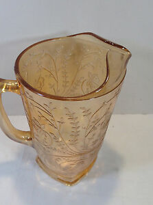 Vintage Amber Pressed Glass Pitcher