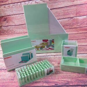 Poppin Mint Green Office Supplies Desk Accessories Set 5 Piece