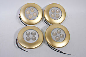 4 Led Interior Lighting Lamp Gold Frame Dome Round 2 8 W 12 24 V 92x26mm 4x Pcs