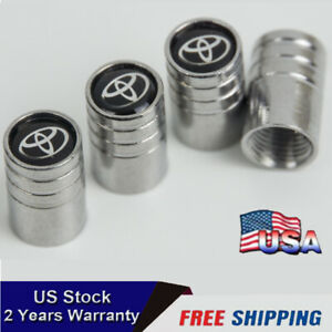 For Toyota Silver Chrome Car Wheel Tire Air Valve Caps Stem Cover With Emblem
