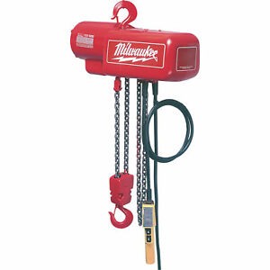 Milwaukee Professional Electric Chain Hoist 1 ton Capacity 15 Ft Lift 9567