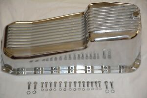 1955 79 Small Block Chevy 283 400 V8 Finned Polished Aluminum 2pc Oil Pan Sbc