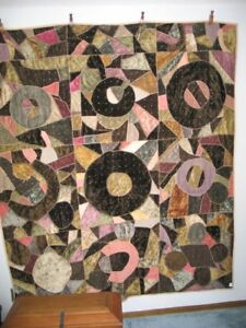 Antique Crazy Quilt 72 X 83 Ornate Stitching Vintage Silk Plush Velvet Cotton