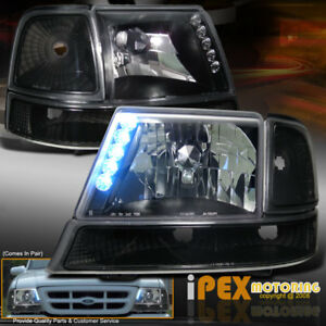 Hot New 1998 2000 Ford Ranger Bright Led Head Light Bumper Signal Lamp Black