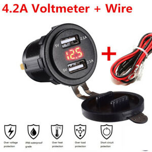 Car Charger 4 2a Quick Charge Dual Usb With Voltmeter Wire In Line 10a Fuse