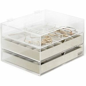 Stackable Jewelry Organizer Trays Set Of 3 Muti use Storage Holder For Earrings