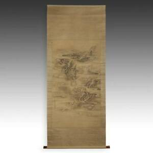 Rare Antique Chinese Scroll Painting Dragon Ink Paper Silk China 19th C