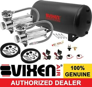 6 Gal Air Tank dual 200psi Chrome Compressor System Kit Car truck Suspension