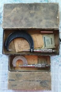 2 Vintage Central Tools Micrometers In Original Boxes W paperwork Parts Nice Usa