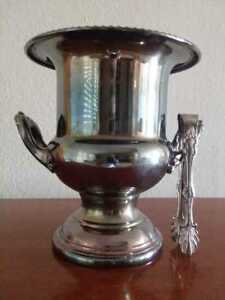 Vintage Silver Plated Champagne Ice Bucket With Tongs