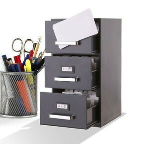 Mini File Cabinet Business Card Holder 3 drawer New