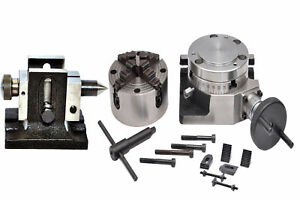 Rotary Table 4 With 100 Mm Independent Chuck Tailstock Clamping Kit