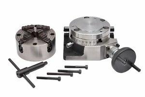 Rotary Table 4 With Back Plate And 100 Mm Independent Chuck