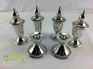 Sterling Silver Candle Holders And Salt And Pepper Shakers