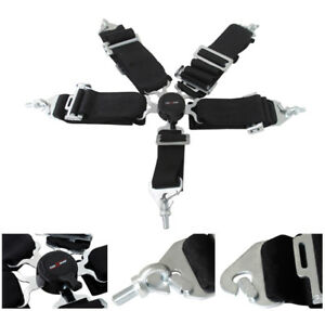 3 Black Nylon 5 Point Pt Harness Camlock Racing Seat Belt Safety Latch Secure