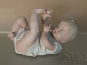 Antique Gebruder Heubach Germany Bisque Porcelain Piano Baby On Back Marked