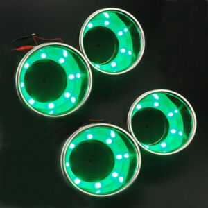 4pcs 8led s Green Stainless Steel Cup Drink Holder Marine Boat Car Rv Interior