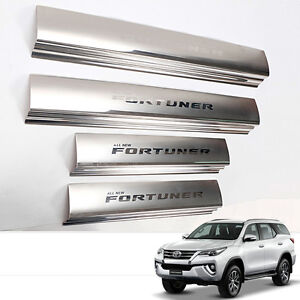 Fit 15 Toyota Fortuner Sill Scuff Step Plate Panel Chrome Stainless Steel