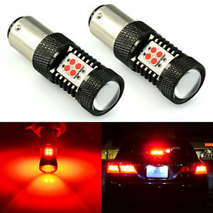 2x Pure Red 1157 Bay15d 5050 27 smd Tail Brake Stop Led Light Bulbs 7528 2057
