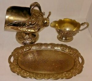 Vintage Silverplate Sugar Bowl Scuttle W Scoop Creamer Tray Heavy