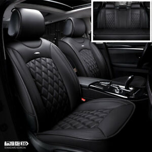 Luxury Pu Leather Car Seat Covers Universal Full Set Front rear Seat Cushion Mat