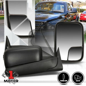 Pair Manual Adjust Flip Up Foldable Side Towing Mirror For 94 02 Dodge Ram 1500