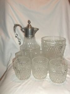 Bedside Silverplated Carafe Pitcher Ice Bucket And 6 Glass Set